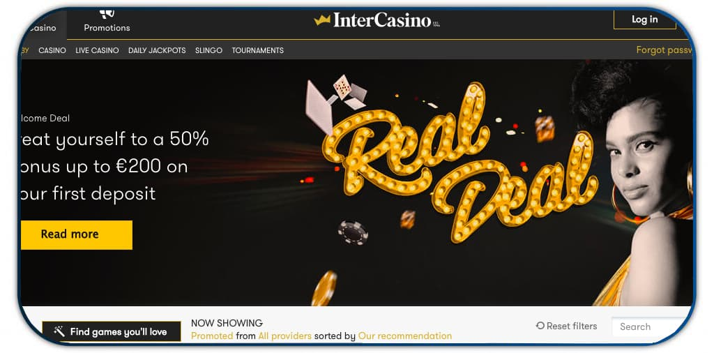 intercasino interface screenshot
