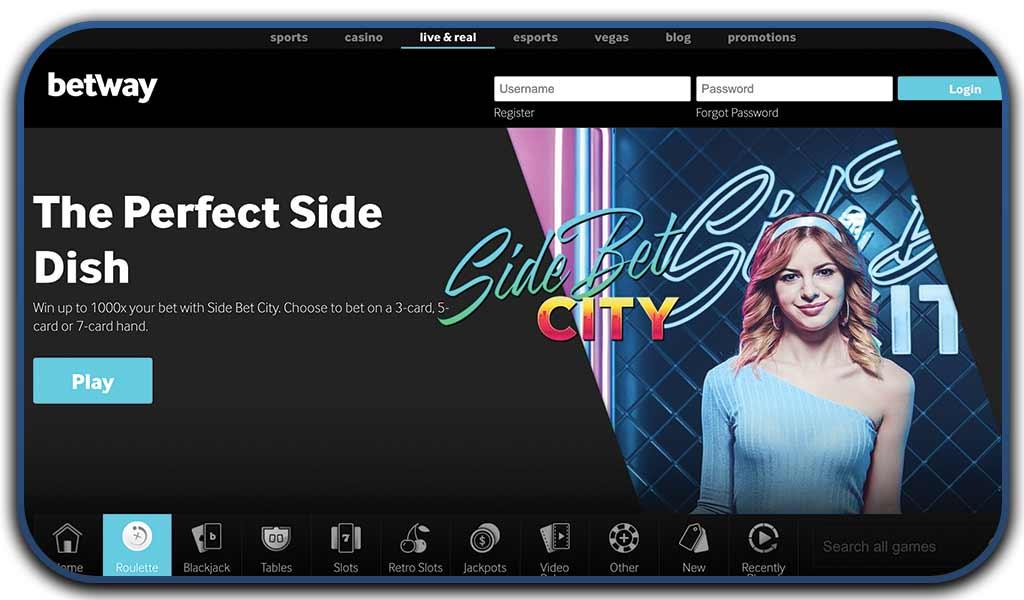 betway casino interface screenshot