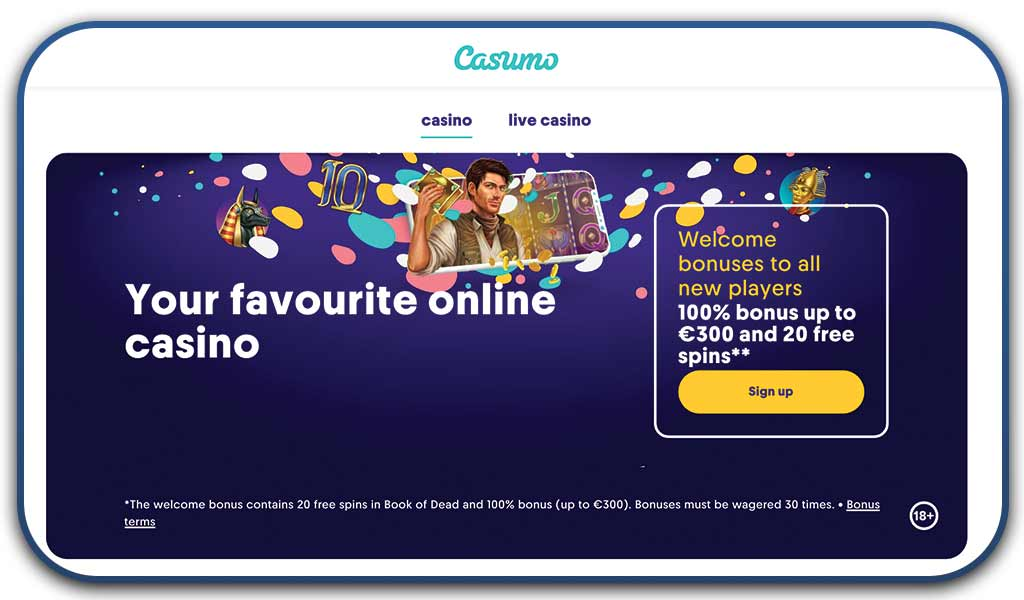 casumo interface screenshot online casino