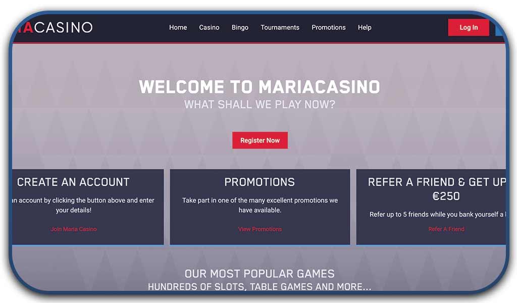maria casino online interface screenshot