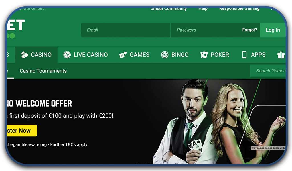 unibet casino online interface