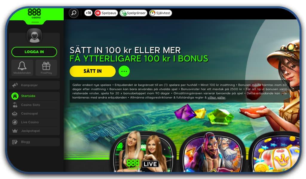 888 casino interface homepage