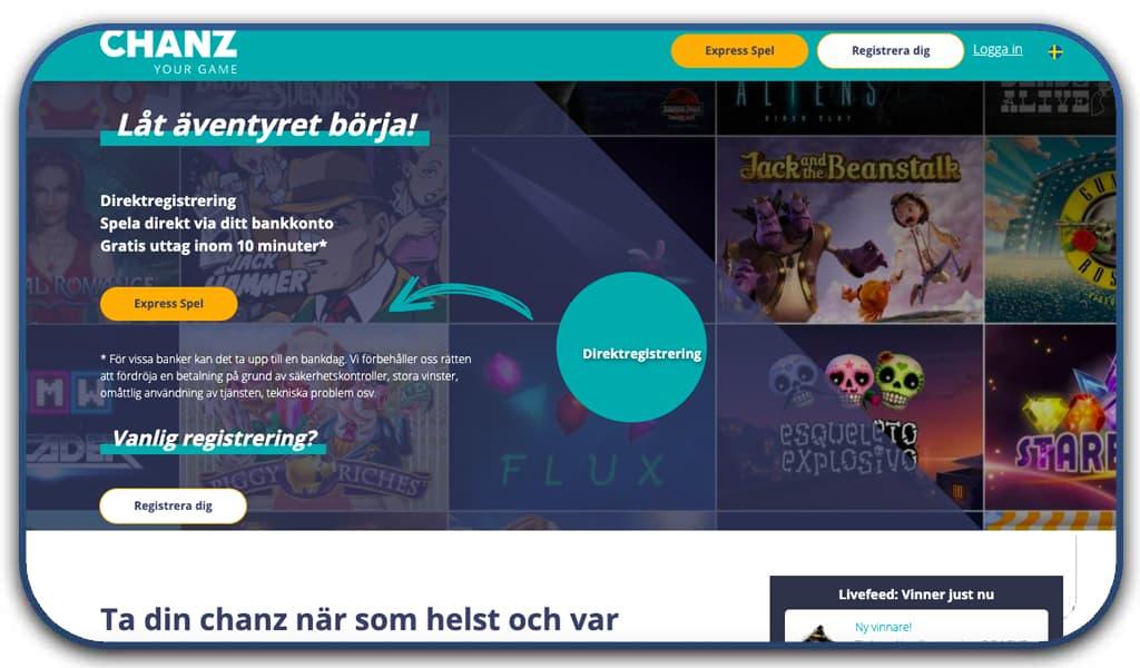 chanz casino interface screenshot