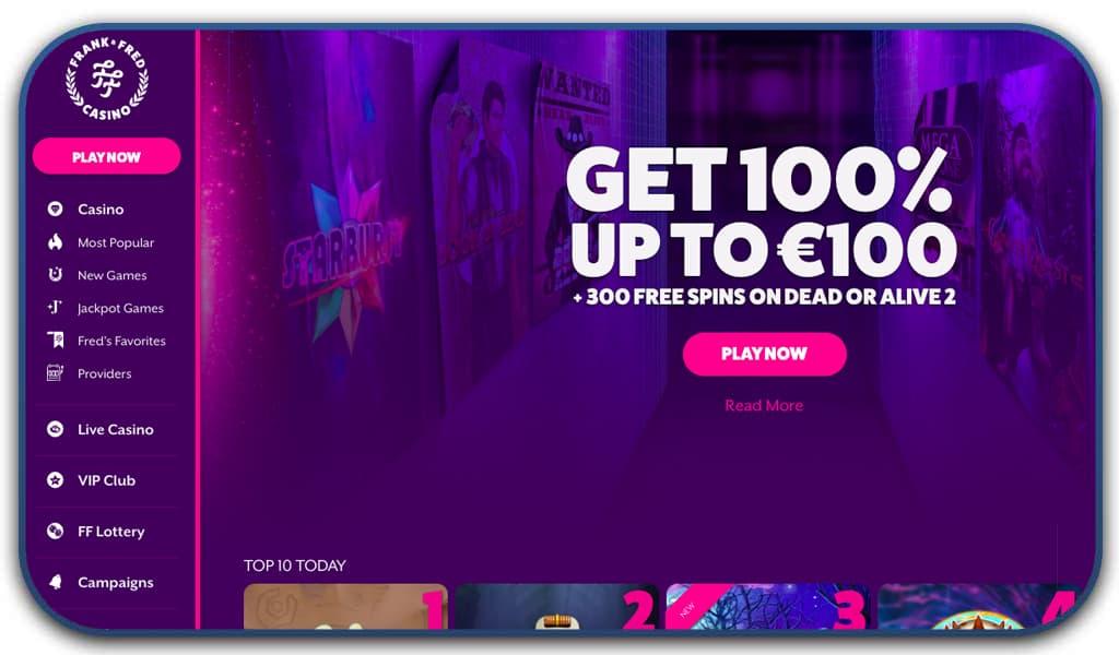 fran & fred casino interface screenshot