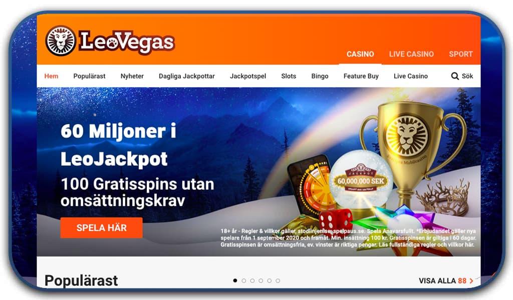 leo vegas casino interface homepage