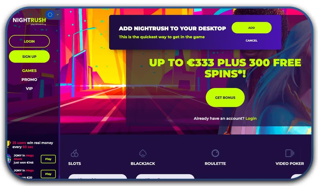 night rush casino online interface