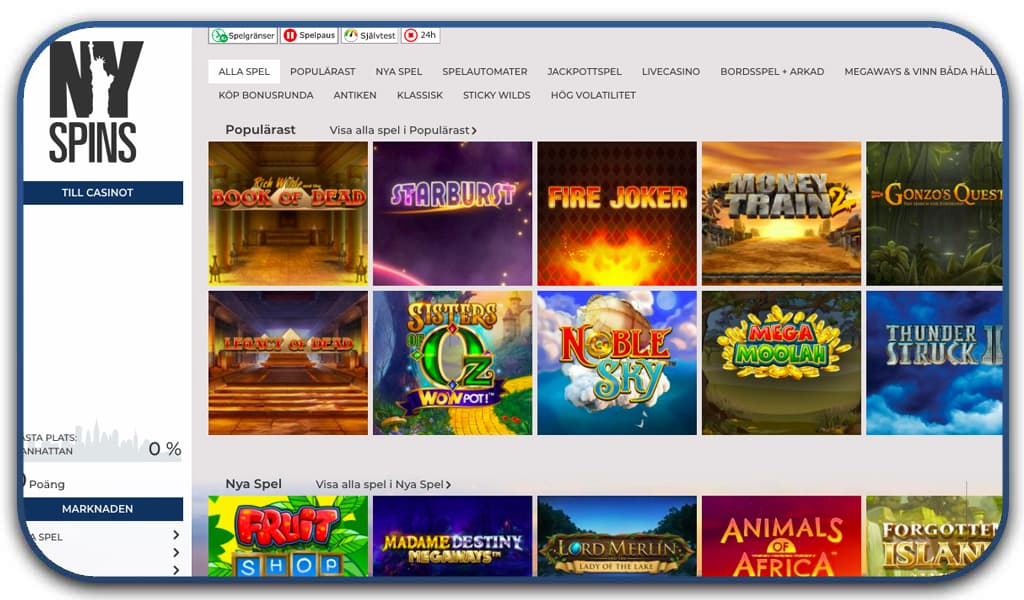 NYspins casino online interface