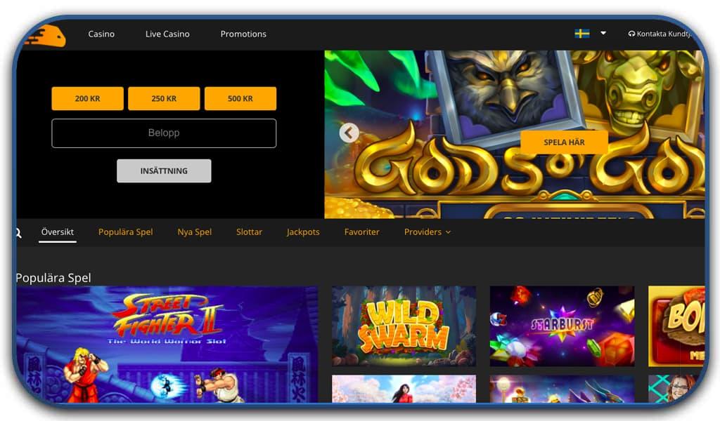 snabbis casino interface
