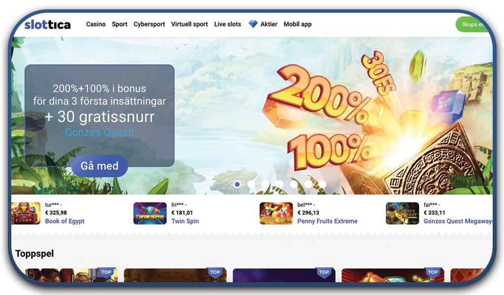 interface slottica casino homepage